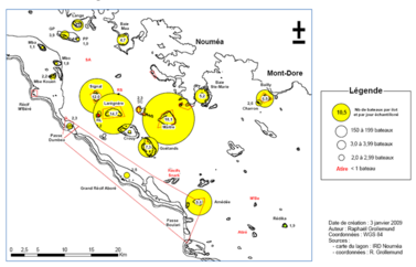 Carte de fréquentation du lagon - IRD 2009