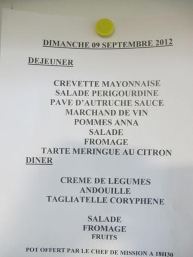 Le menu du dimanche 9 septembre 2012