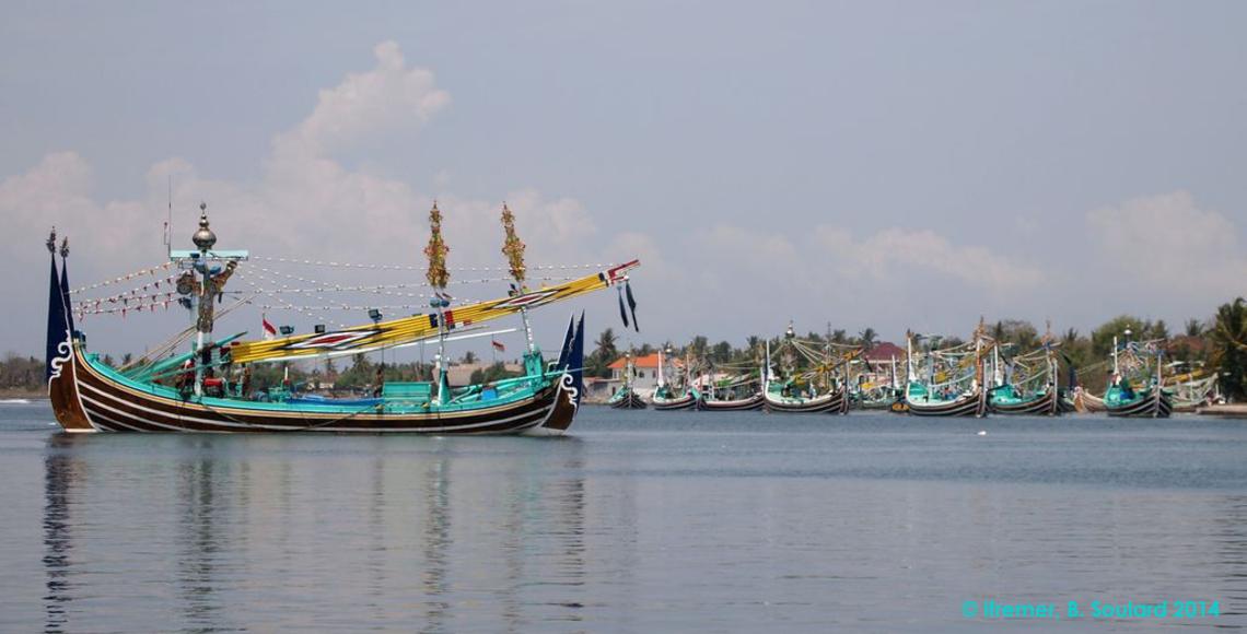 Goélette balinaise, estuaire de Perancak, mission Indeso