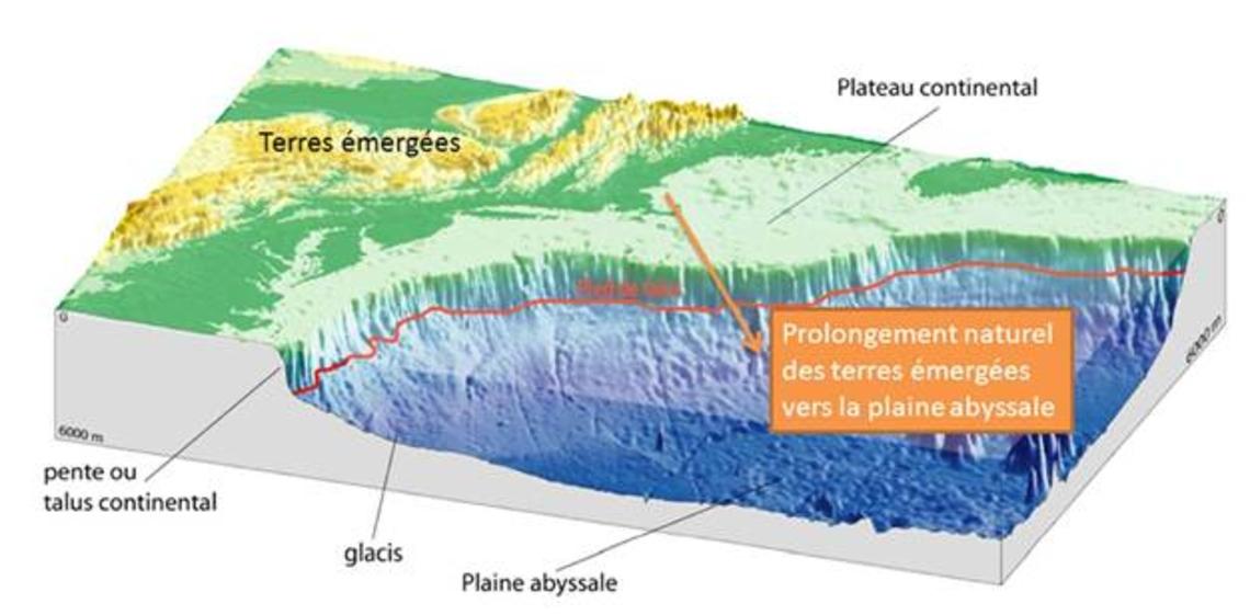 Illustration des différents domaines sous-marins et du prolongement naturel. Le pied de talus est illustré par la ligne rouge qui correspond au passage de la base du talus continental vers la plaine abyssale.