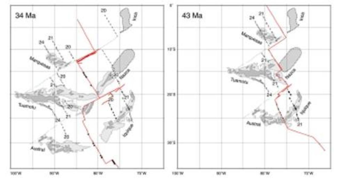Plateaux des Marquises, des Tuamotu et des Australes et leurs conjugués vis-à-vis de la dorsale Est Pacifique (figure 2)
