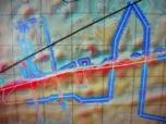 Route de l'Atalante suite à la réalisation des  profils de recherche du positionnement de pieds de plateau (cercles magenta). Le navire est matérialisé par un petit rectangle rouge situé en bas gauche du cliché au sud de la ride (position vers 9h00le 9 septembre) cap à l'Ouest. Les levés multifaisceaux acquis sont matérialisés en bleu. La route poursuivie est en blanc. Les levés multifaisceaux du Maurice Erwin, navire océanographique américain ayant travaillé sur zone en 1991, sont matérialisés par la route tracée en rose. L'axe transversal Sud/Ouest – Nord/Est souligné en noir est un levé monofaisceau.